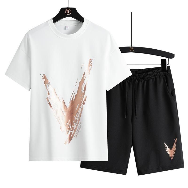 Men's Tracksuits Sports Men Tracksuit 2 Piece Summer Man Crew Neck Print Track Suit Short Sleeve Tshirts Shorts Student Casual Sport Clothin