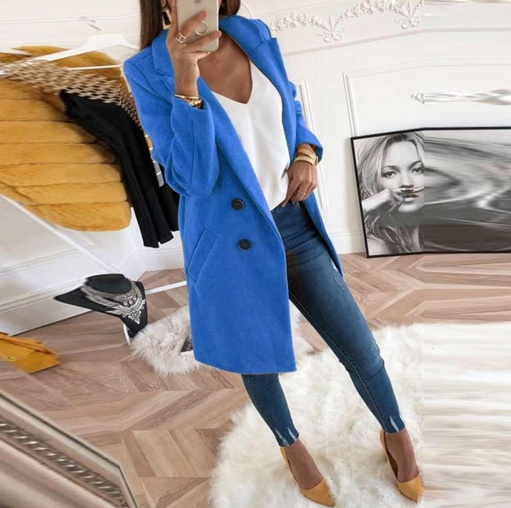 Mulheres outono inverno casaco de lã manga longa girar para baixo colarinho oversize blazer jaqueta solta mais tamanho
