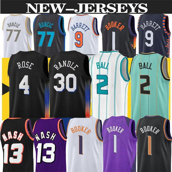 Nba basketball Lamelo Ball Charlotte Hornets jersey 77 Luka Doncic 9 RJ Barrett 33 patrick ewing 13 Steve Nash 1 Devin Booker DALLAS MAVERICKS New York Knicks basketball jerseys