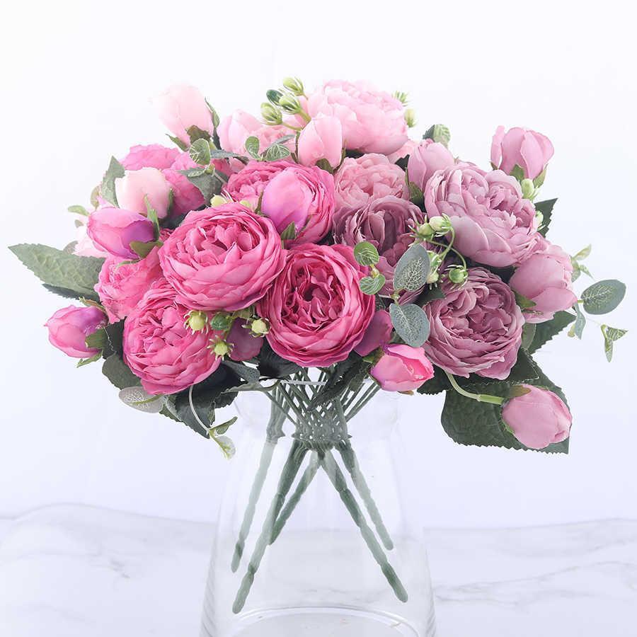 30cm 장미 핑크 실크 모란 인공 꽃 꽃다발 5 큰 머리와 4 봉 오리 싼 가짜 가정용 웨딩 장식 실내