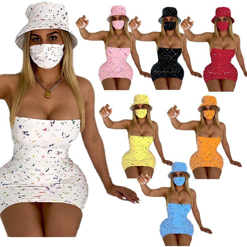 Luxus Designer Frauen Kleid Hut Set Vollbrief Gedruckt Trägerlose Kleider + Sonnenhüte 2 Stück Anzug Bodycon Minirock Sommer Outfits Kleidung