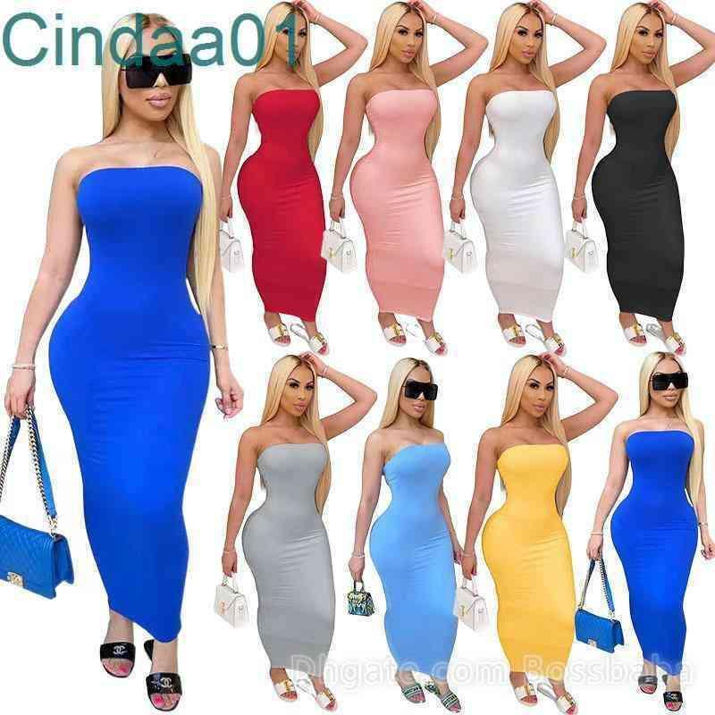 Summer Women Dresses Long Maxi Dress Off Shoulder Bandeau Casual Tight High Stretch Dress Sexy Club Bodycon Pencil Skirt 832