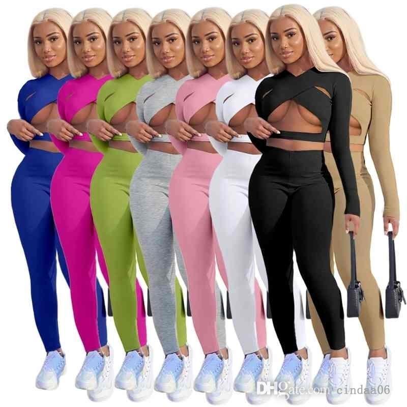 Seksi Bayan Tasarımcı Giyim Eşofman Iki Parçalı Suit Gece Kulübü Katı Renk Çapraz Kesim Spor Giysiler