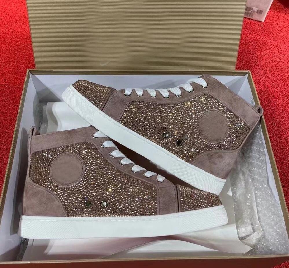 Ünlü Kristal Sneakers Ayakkabı Yüksek Üst Kırmızı Alt Rahat Yürüyüş Erkekler için, Kadınlar Mükemmel Güzel Strass Açık Traniner EU35-47