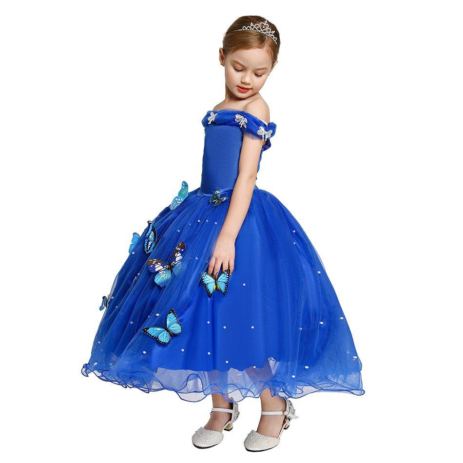 الفتيات سندريلا اللباس زي مع الفراشات الاطفال أكمام الأميرة حزب فساتين ل هالوين هدية هدية هدية مفاجأة