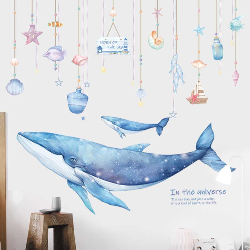 Cartoon Coral Whale Wall Sticker for Kids rooms Nursery Wall Decor Vinyl Tile stickers Waterproof Home Decor Wall Decals Murals 210615