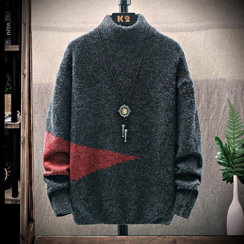 2021 Yeni Kış Moda Erkek Noel Kazak Kalın Gram Kazak Erkekler Casual Balıkçı Yaka Erkek Kazak Marka Erkek Giysileri