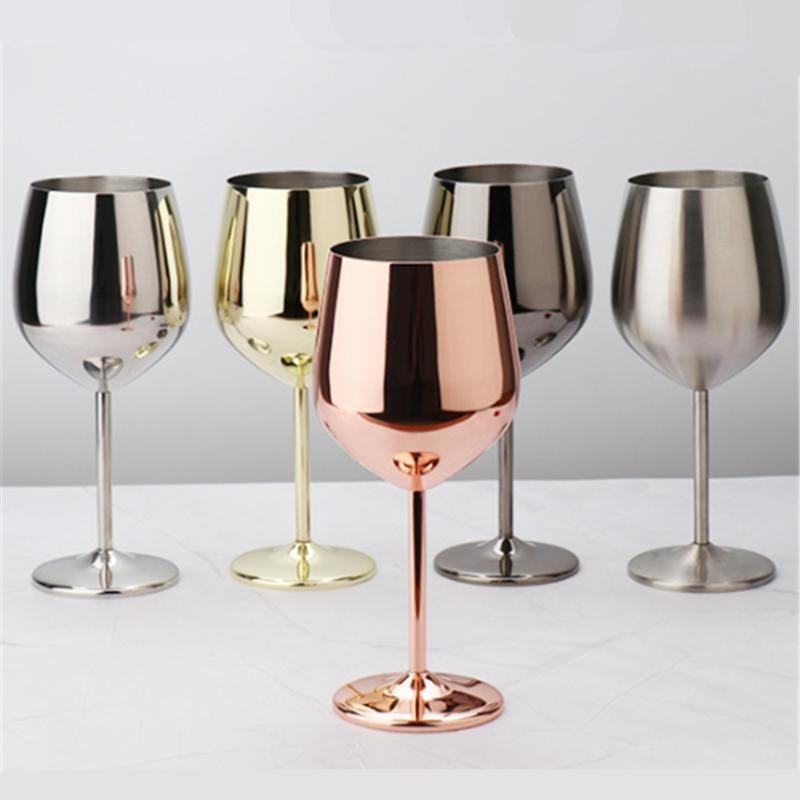 500 / 200ml 와인 잔 빨간색 유리 바에 대 한 칵테일 피크닉 와인 글라스 스테인레스 스틸 구리 도금 컵 파티 용품 안경