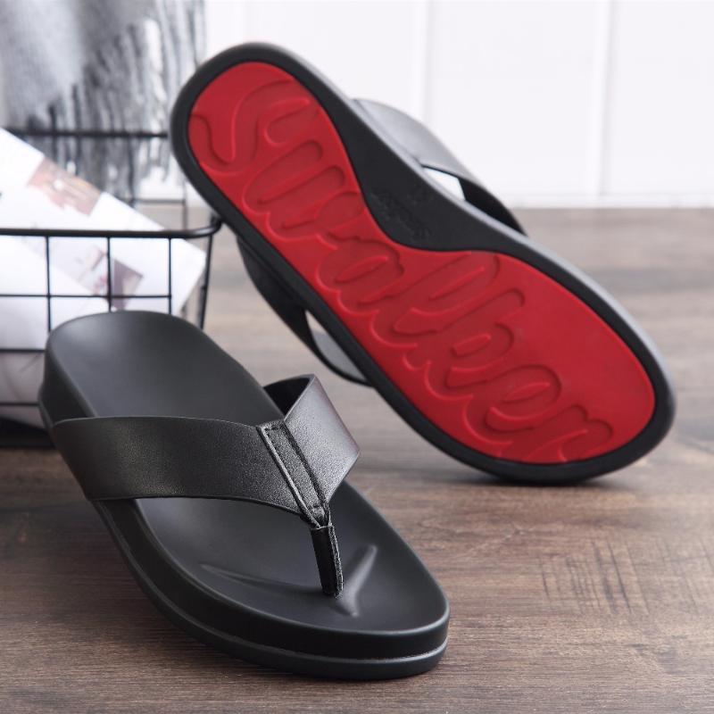 Mens flip flops moda negócios sandálias de couro genuíno macho verão chinelos respirável alta qualidade