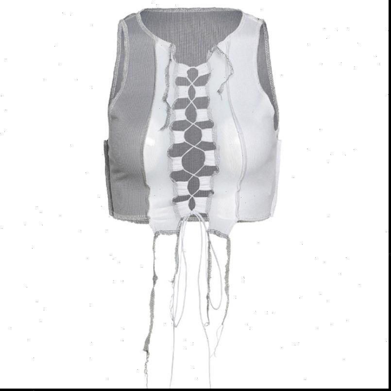 Mulheres Camis sem mangas com nervuras colheita top malha retalhos cor bloco de cor oco lace up colete cair