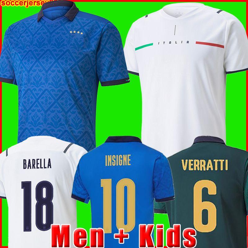 إيطاليا Soccer Jersey 2021 2022 إيطاليا Barella Sensi Insigne 20 21 22 European Euro Cup Chiellini Bernardeschi كرة القدم قمصان الرجال + الاطفال طقم الزي بعيدا