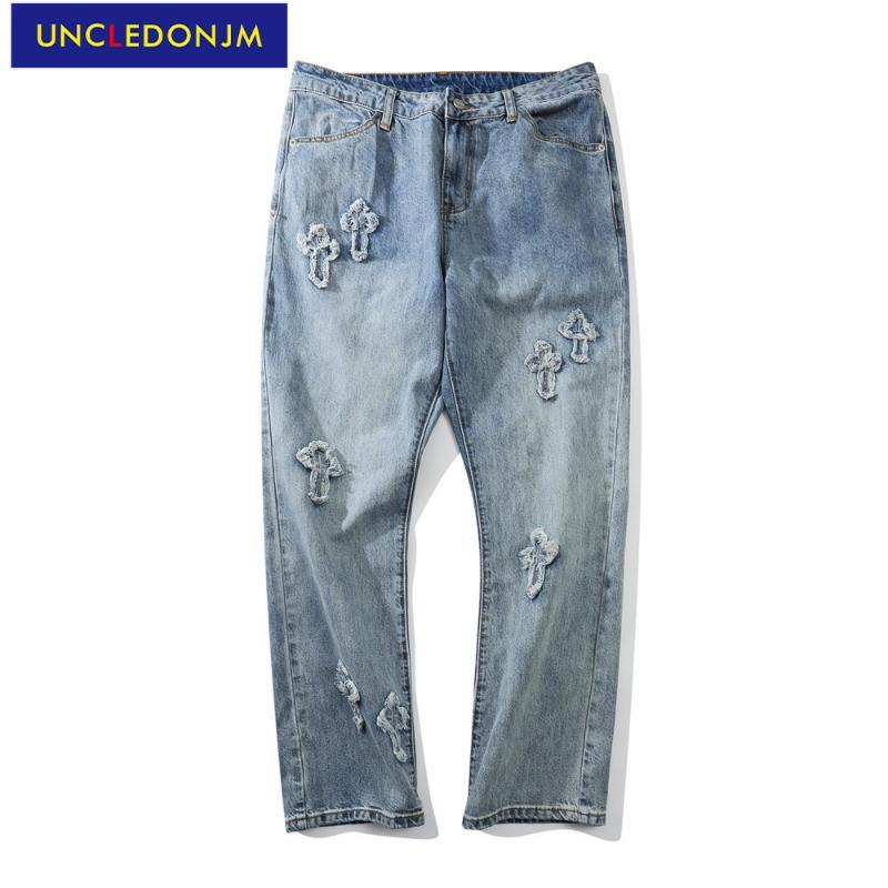 Jeans masculinos afligidos denim para homens designer mulheres folgadas vintage de rua or-v930-1