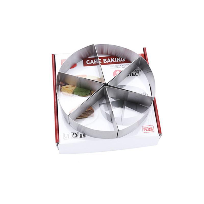 6-parte redondo mousse ring bolo molde de cozimento ferramentas de peito pizza molde de aço inoxidável com pastelaria de caixa