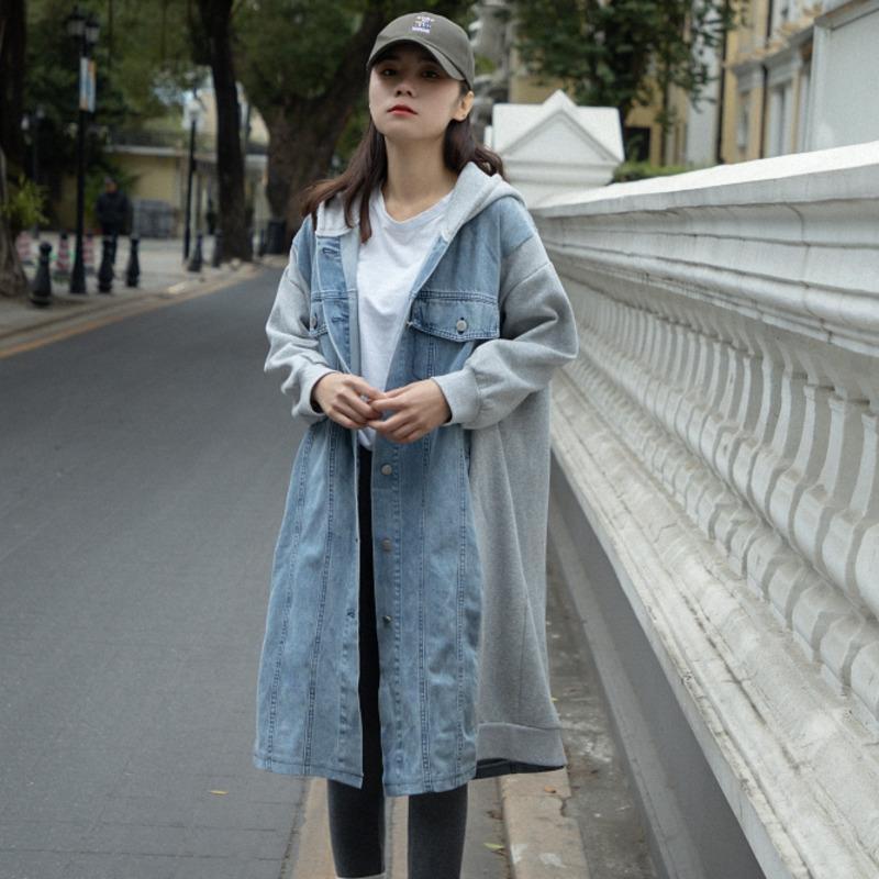 Chaqueta de otoño Mujeres Casual encapuchado Denim Patchwork suéter suelto abrigo largo versátil Harajuku Streetwear Streetwear Chaqueta Mujer Chaquetas Mujeres