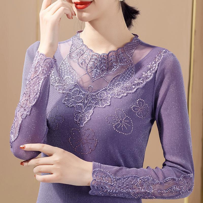 Женская футболка 2021 Весна Женщины Мода Сексуальная Пустота из Кружева Топы Элегантная Тонкая сверлильная Рубашка M-4XL Плюс Размер Одежда