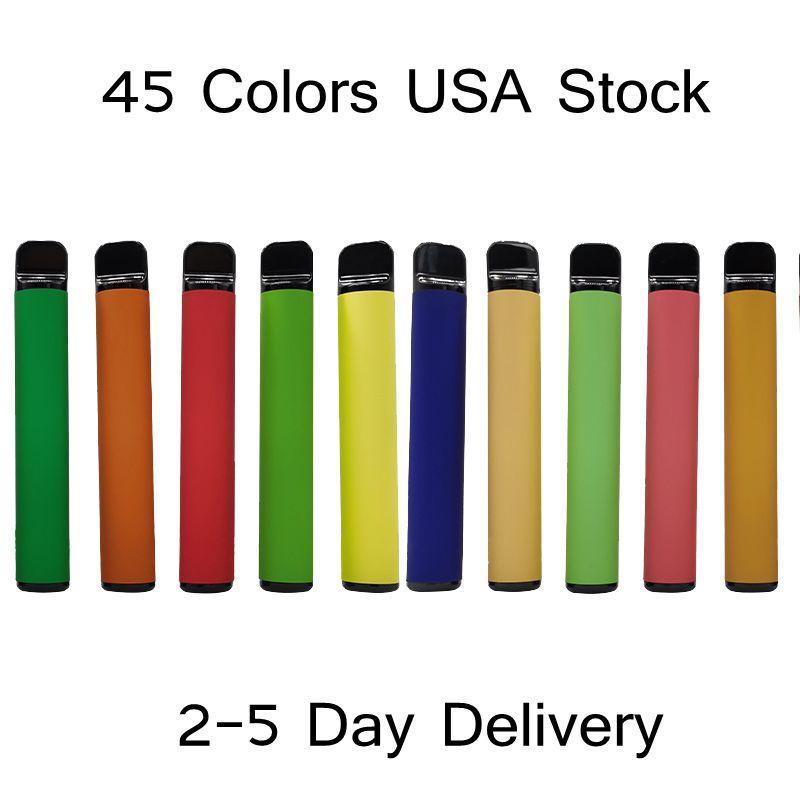 USA Stock 800puffs Одноразовые видеосъемки Vape E Cigarettes 3.2ML Vaporizer 550 мАч Батареи Стартовые наборы 45 Цветов 2-5 дней Доставка Пустой пользовательский