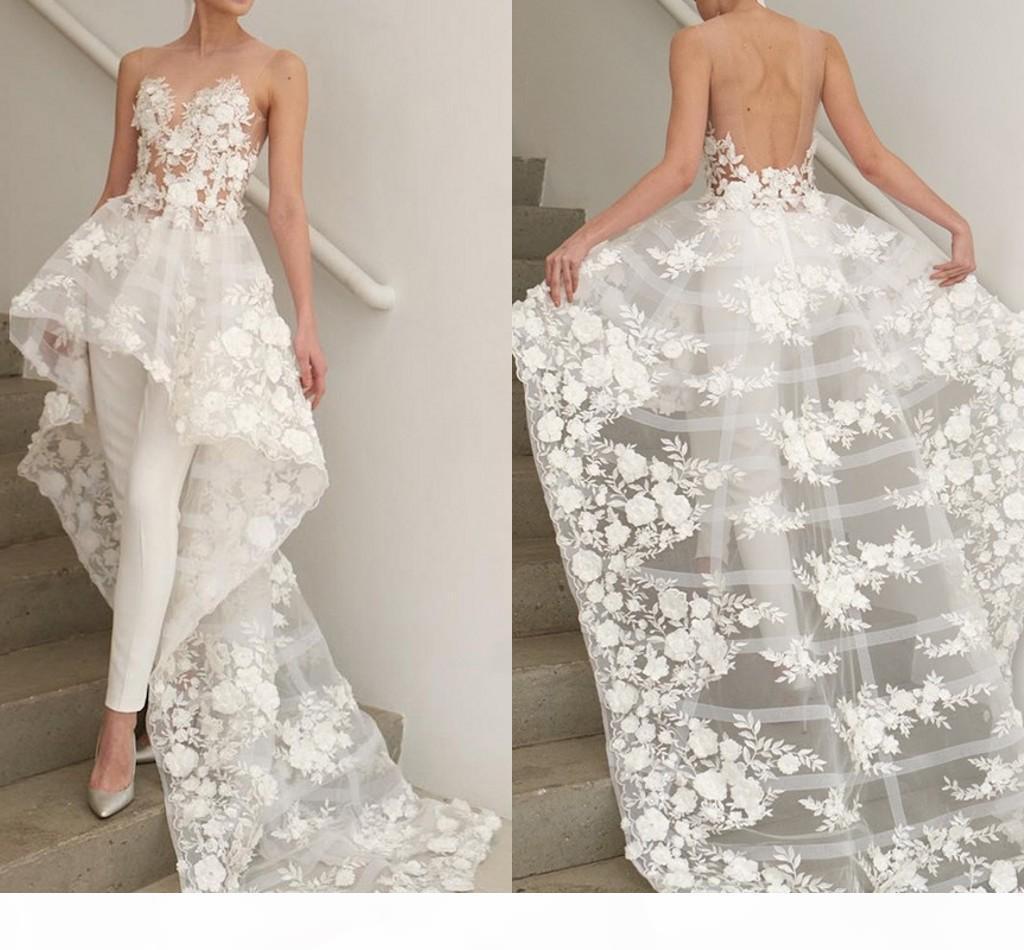 Jumpsuit de verano Vestidos de novia Playa 2021 Flores de encaje sin tirantes Pantalones de recepción de boda Partido Vestido formal Aduanas Abrir atrás