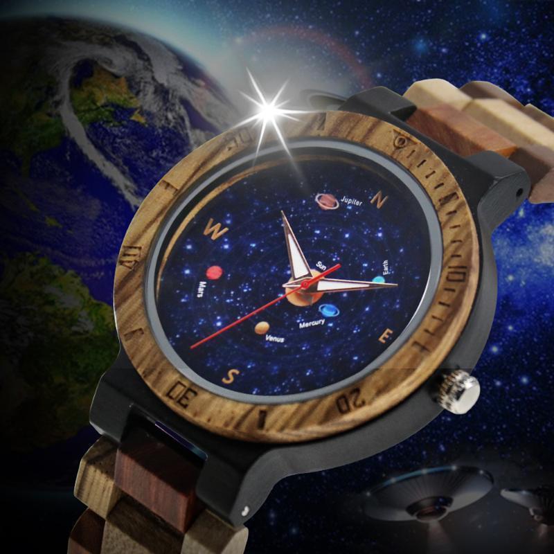 Saatı Benzersiz Yıldızlı Sky Arama Gezegen Desen Ahşap İzle erkek Saat Ayarlanabilir Karışık Renk Doğa Saati Reloj retro Retro Retro Huşu Reloj