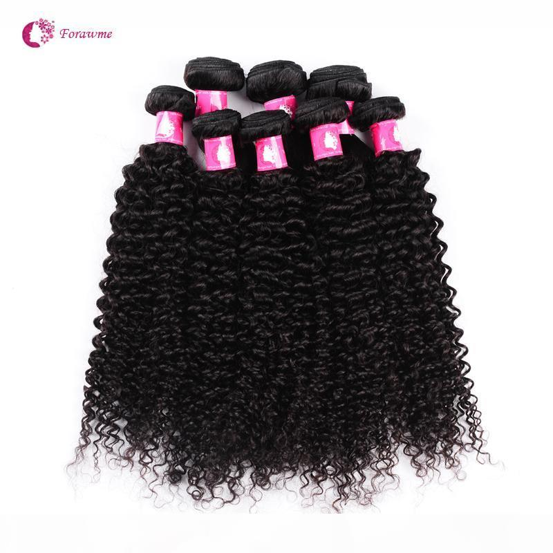 Wholesale 10bundles lot 7A Virgin Brazilian Afro Curly Wave Hair Weaves 1B Natural Black Human Remy Hair Weft For Black Women Forawme