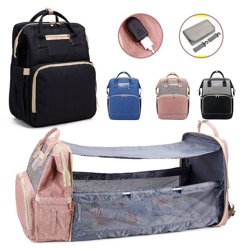 업그레이드 된 아기 침대 미라 가방 다기능 대용량 휴대용 폴딩 엄마 유모차 기저귀 가방