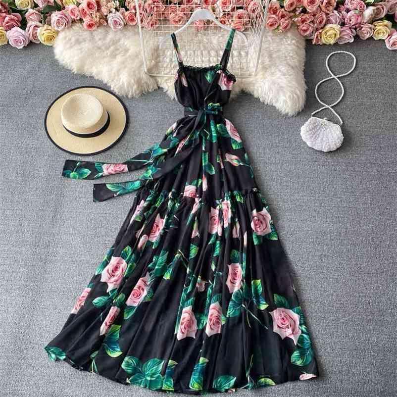 Frauen Vintage lange Kleid Vestidos Sommer Rüschen Hohe Taille Bandagekleider Damen Elegante Party Robe 210602