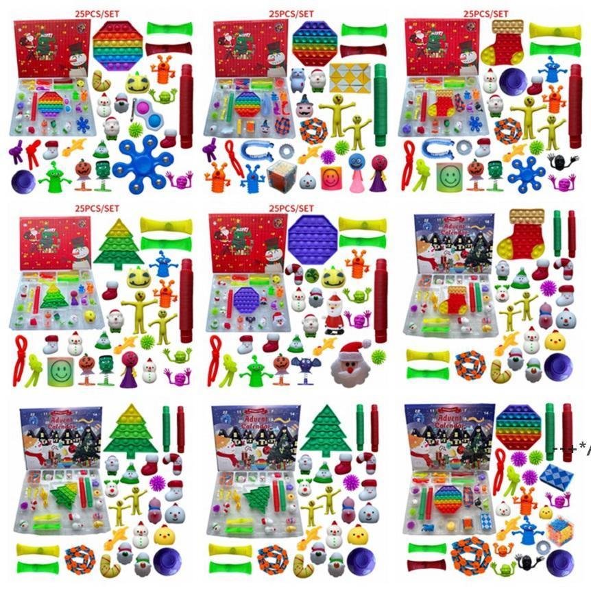 24/25 días Christmas Fidget Toy Cuenta regresiva Cuenta regresiva Calendario Cajas de ciegas Push Bubbles Niños Regalos Adviento Calendario Caja de Navidad por mar HHD10088