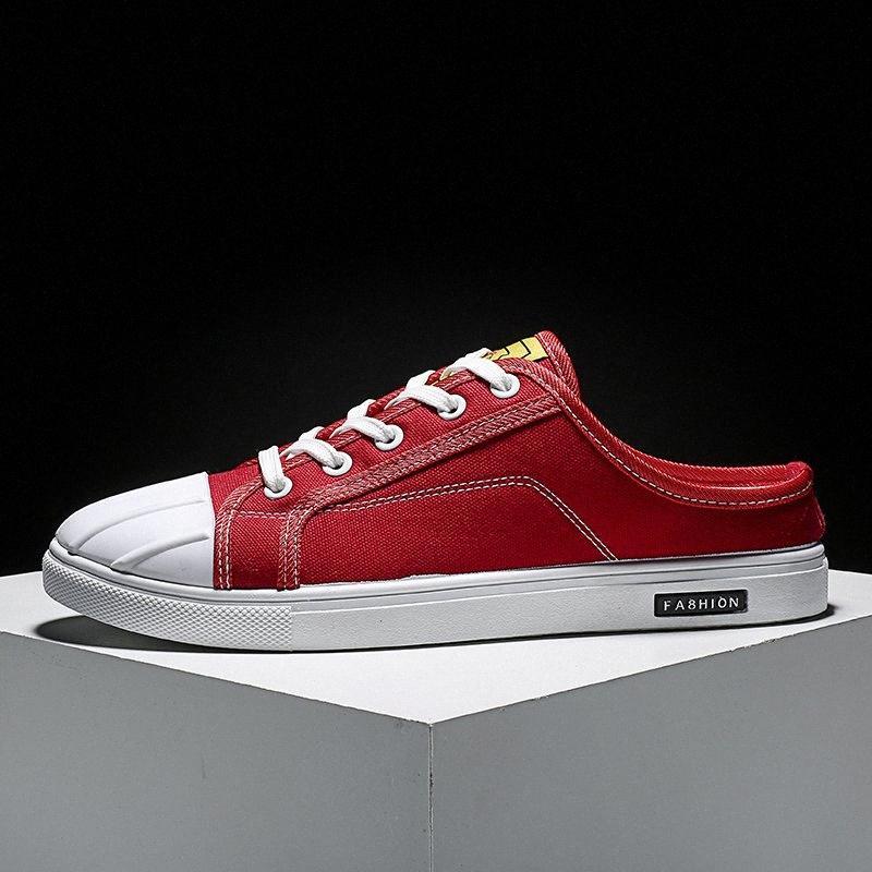 Yaz Yeni Erkekler Yarım Sürükle Tuval Ayakkabılar Kırmızı Bağlama Yürüyüş Tuval Ayakkabılar Flats Adam Yarım Terlik Moda Genç Rahat T4P8 #