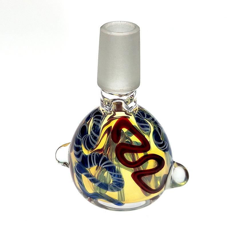 Patrones de tipo de serpiente masculina de 14mm Forma de vidrio Tazón de vidrio Fumar con asa para el tabaco de Bong Whoslesale Price