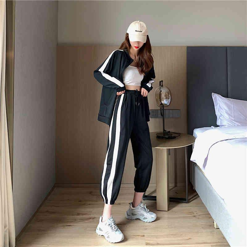 Super Fire Fashion State Sport Femme Couleur Assortiment Manteau mince, haut à col rond à manches longues + pantalon à deux pièces à taille haute avec