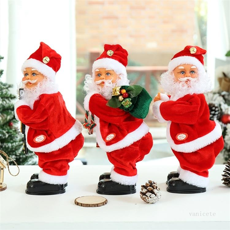 party favor Electric Santa toys hip music Christmas gifts doll children gift toy window cabinet Ornaments ZC401