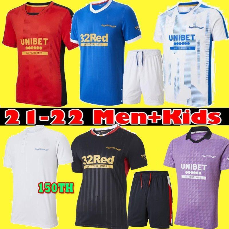 2021 Rangers Soccer Jerseys Glasgow 2022 180th سنوات الذكرى السنوية Defoe Hagi Barker Morelos 21 22 الصفحة الرئيسية Third Third Football Shirt Men + Kids Kit