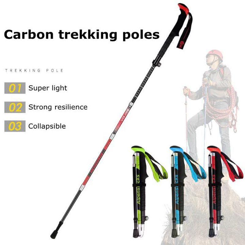 Xinda Ultra-Light Carbon Trekking Polos Ao Ar Livre Equipamento de Caminhadas para Homens e Mulheres Dobrável Pólo Cinco-seção