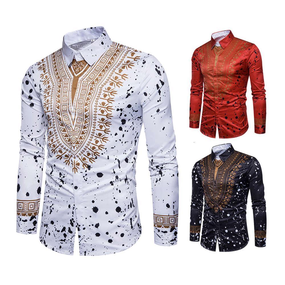Рубашка с русской моды мужской национальный стиль Флористическая 3D печать рубашки с длинным рукавом