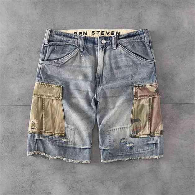 Hombre jeans pantalones vaqueros cortos camuflaje bolsillo pantalones de carga casual ligeramente pantalones cortos moda mezcle pantalones cortos de verano pantalones