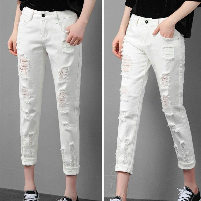 2021 moda rasgada lavada jeans branco tornozelo-comprimento verão streetwear denim calças casuais calças para mulher