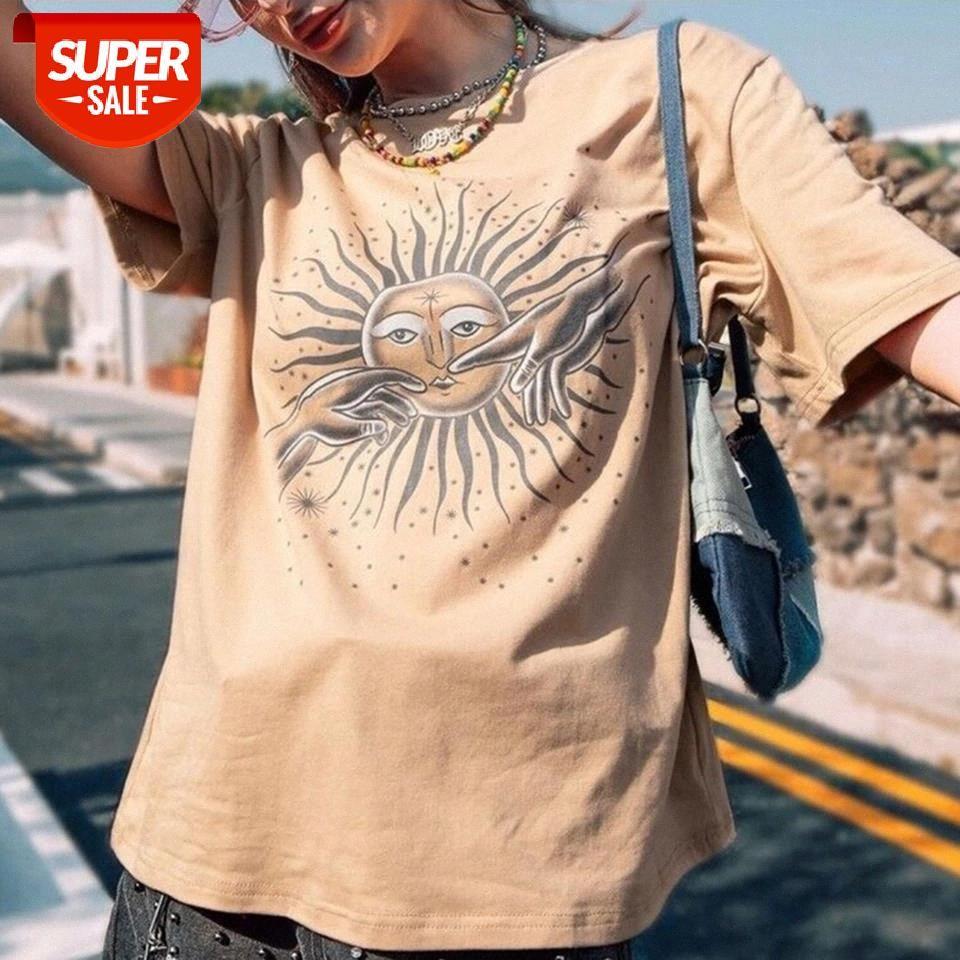 Cópia do sol do vintage camiseta Mulheres Verão Harajuku Khaki Redondo Pescoço Manga Curta T Shirt Casual Streetwear Oversize Tops 2021 # U47L