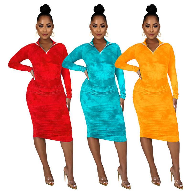 Hirigin Femmes 2021 Automne Style d'automne Fermeture à glissière à la manche longue à manches longues Clubwear Cravate Teinture Imprimer Robe de crayon Slim Slim