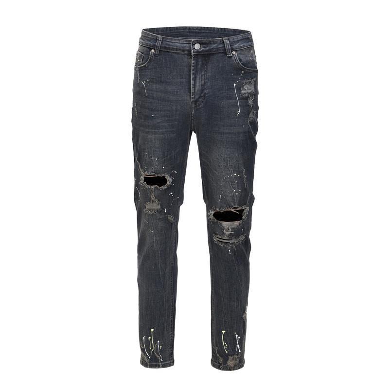 Erkek Merhaba Sokak Vintage Yıkılan Kot Pantolon Moda Streetwear Yırtık Boyalı Denim Pantolon Delikli Yıkandı Retro