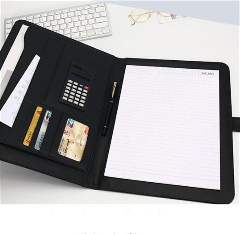 A4 파일 주최자 포트폴리오 폴더 문서 가방 PU 가죽 메모장 다기능 카드 홀더 펜 파일 클립 계산기 메모 370 v2