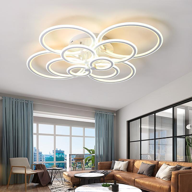 Doble brillo moderno LED araña para sala de estar Dormitorio Estudio Remoto Controlador Techo regulable AC90-260V Lámparas de araña