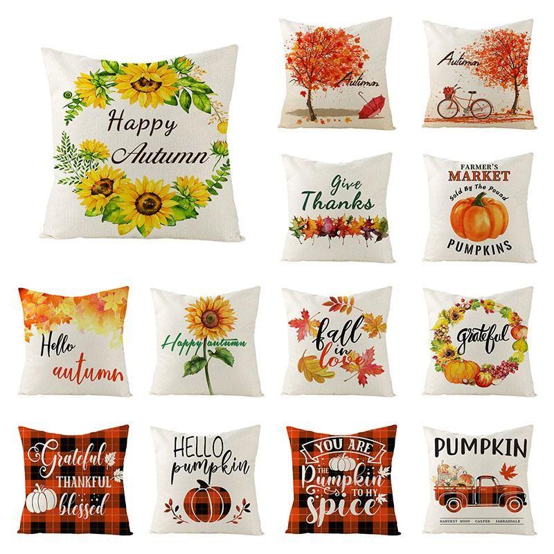 Kissen / dekorative Kissenabdeckungen Danksagung Kissenbezug 45x45 Kürbisse Sonnenblume Dekorative Kissenbezug Leinen Sofa Kissen Home Dez