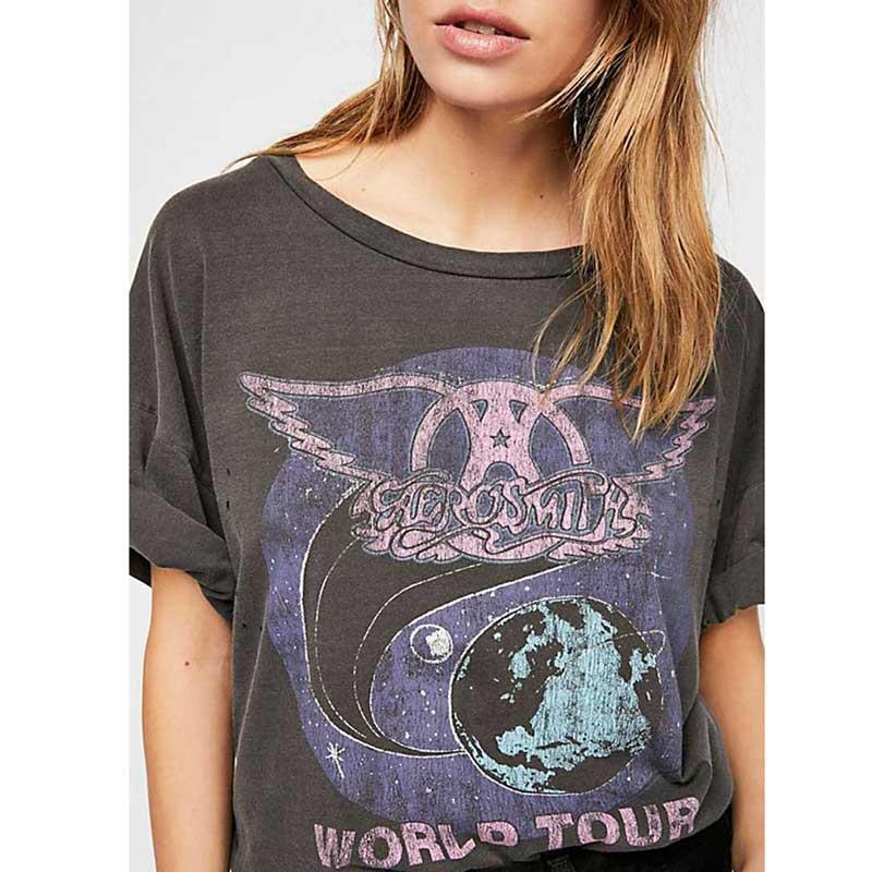 Super Chic Vintage Oversized Boyfriend Womens T Shirts Tee Band Graphic Tees Cotton Summer Shirt Short Sleeve Casual Tops