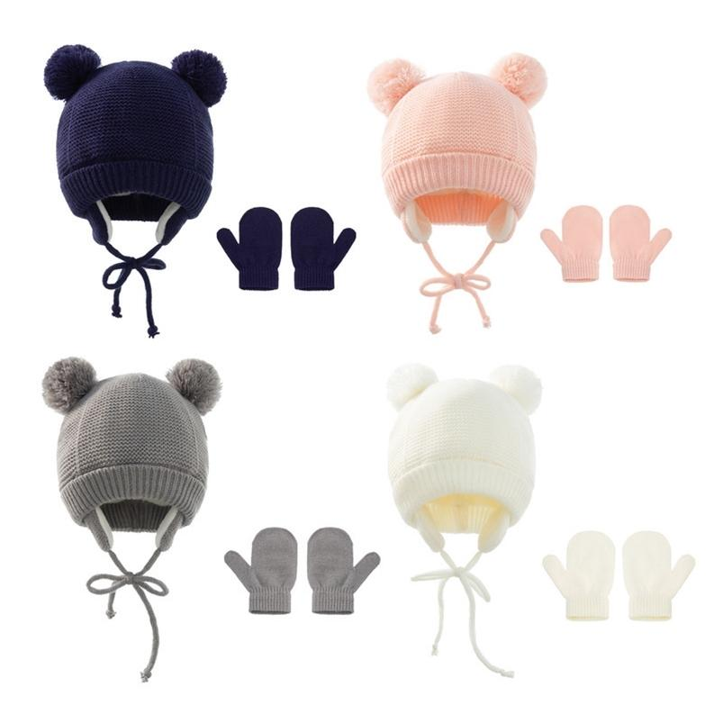 Winter Warm Newborn Baby Knitted Hat Solid Color Children's Ourdoor Crochet Hat + Gloves Two-piece Set With Double Plush Ball Kids Boys Grils Cap G99KLNL