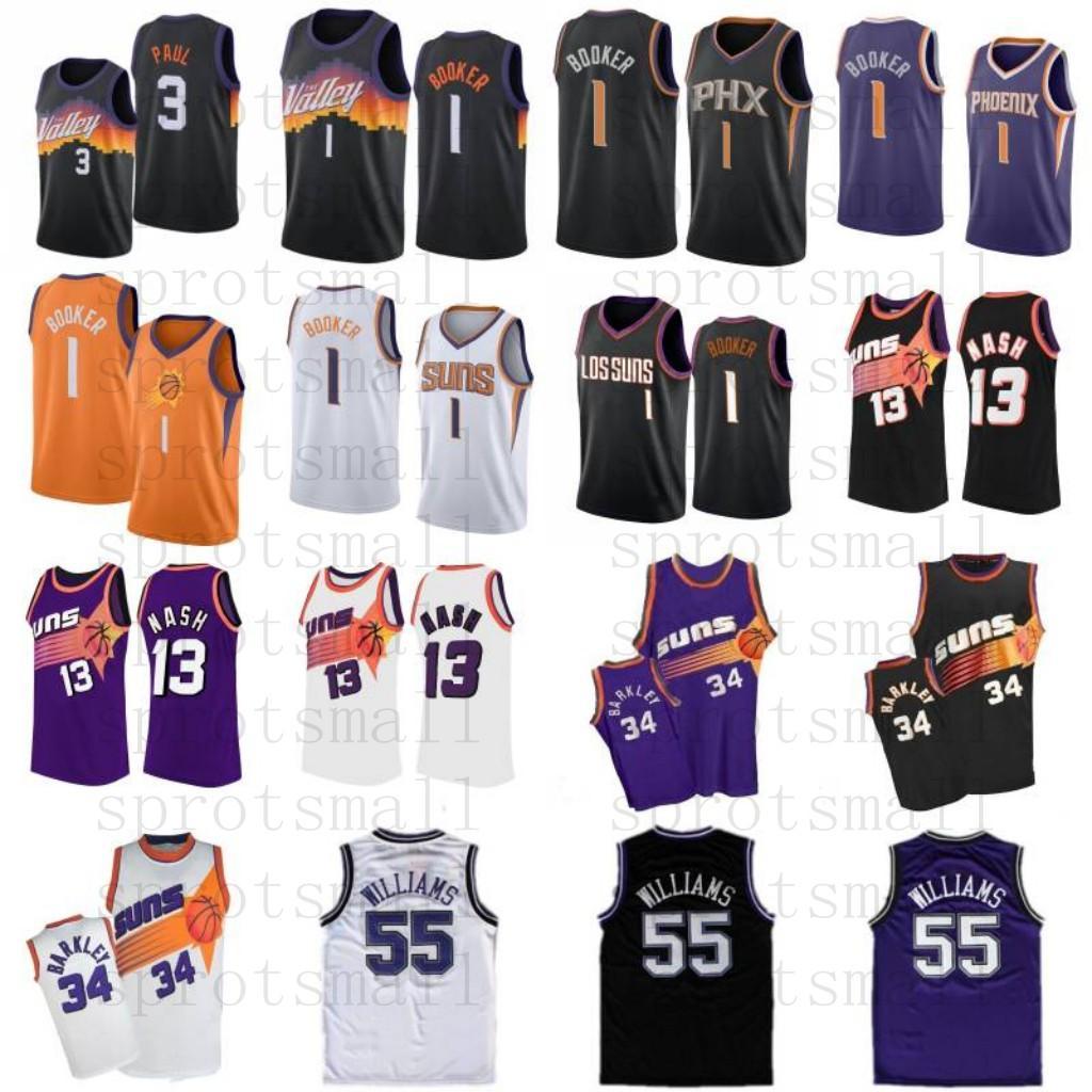 Devin 1 Booker Basketball Jersey Chris 3 Paul Mens Steve 13 Nash 34 Barkley Jason 55 Williams Camiseta