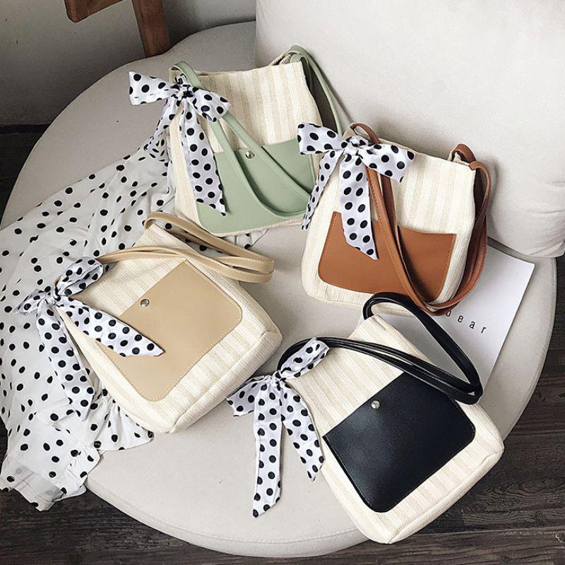 여성 핸드백 패션 캐주얼 컬러 블록 밀짚 짠 가방 매일 야생 어깨 대용량 쇼핑백 스카프