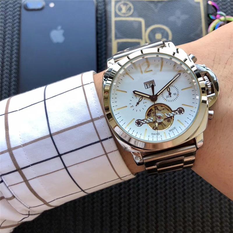 남자 tourbillon 시계 자동 기계 운동 중공 패션 스포츠 시계 스테인레스 스틸 스트랩 달 단계 고급 손목 시계