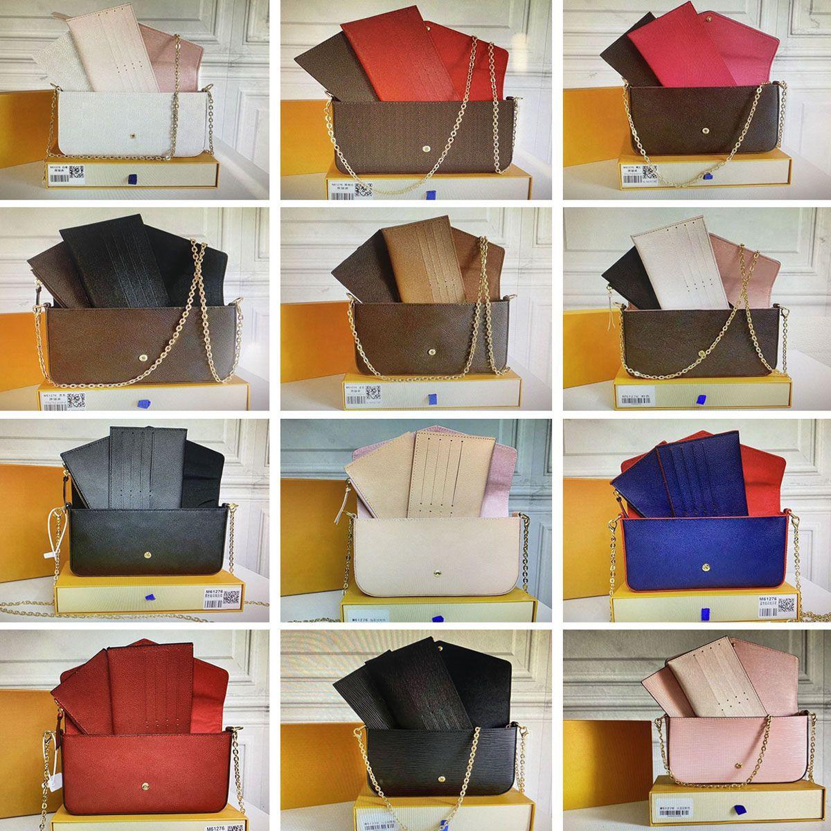 Pochette félicie سلسلة حقيبة الفم الفاخرة مصممين حقائب النساء حقائب الكتف تنقش زهرة الأزياء النسائية crossbody محفظة بطاقة حامل محفظة مع مربع M61276