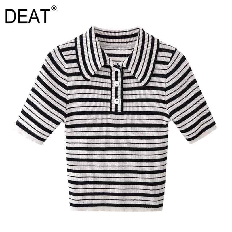 Sommer Mode Frauen Kleidung Umlegekragen Hälfte Hülsen Gestreiftes Slim T-Shirt Weibliche Top WS05001L 210512