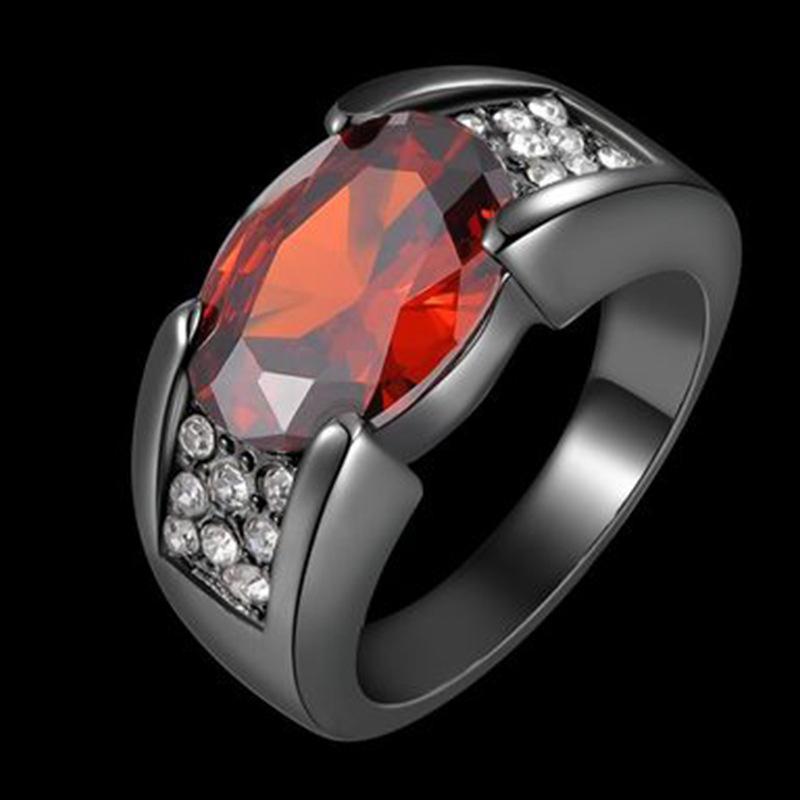Hochzeitsringe Mode Klassiker Rot Gem Oval Kristall Ring Männer Schwarz Gold Farbe Versprechen Engagement Für Frauen Party Geschenk Schmuck