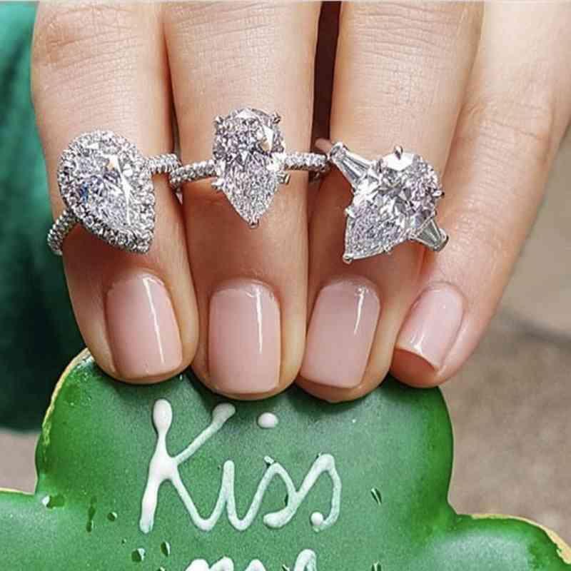 Anneaux Véritable 925 Sterling Sterling Created Moissanite Drop pour Femmes Engagement éternel Poire en forme de poire Diamant Bague Bijoux